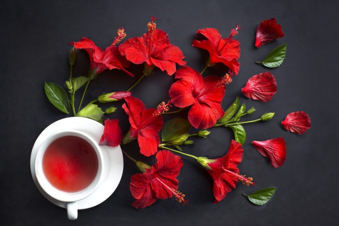 Top view of one cup of hibiscus black tea on black background.