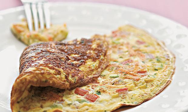 Omelete de shiitake e alho-poró