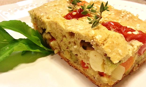 Torta de legumes com biomassa de banana verde