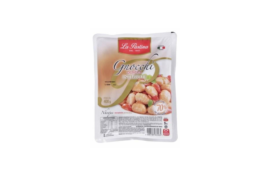 Novidade da La Pastina, o Gnocchi Integrale tem 70% de batata, 20% de farinha integral e 10% de farinha de arroz. Boa opção para quem procura uma massa com fibras e menos glúten (R$ 9,50 a embalagem de 400 g). São 127 calorias na porção de 80 g.<em>*Preço pesquisado em marçode 2017</em>
