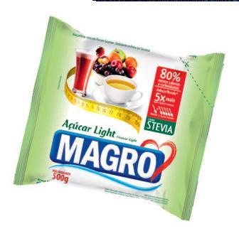 O Açúcar Light Magro com Stevia (R$ 8,87 o pacote de 500 g), da Lightsweet, adoça cinco vezes mais que o açúcar comum. Basta 1 grama (4 calorias) para uma xicrinha de café. Preços pesquisados em novembro de 2016.