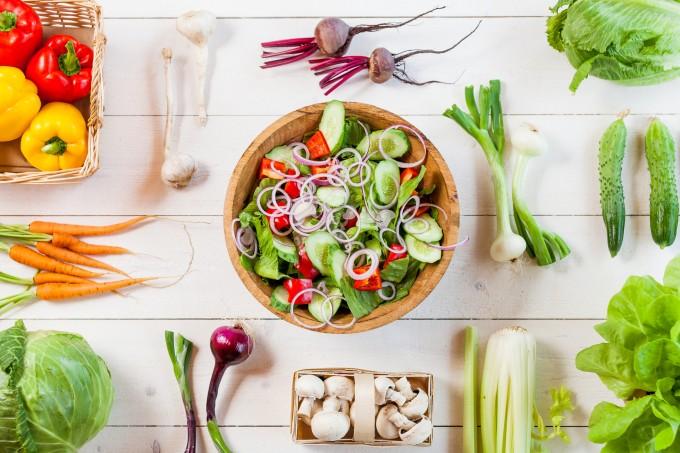 healthy vegan lunch bowl, top view vegetables salad