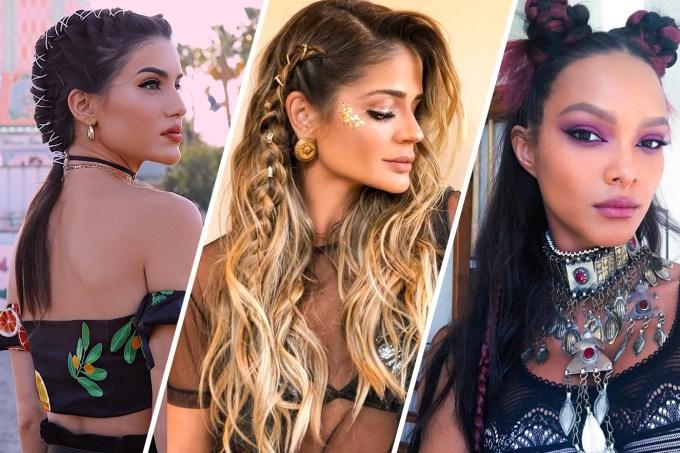 Tendências de cabelo das famosas no Coachella