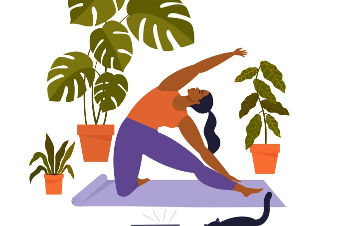 Sport exercise at home. Woman doing workout indoor. Yoga and fitness, healthy lifestyle. Flat vector illustration.