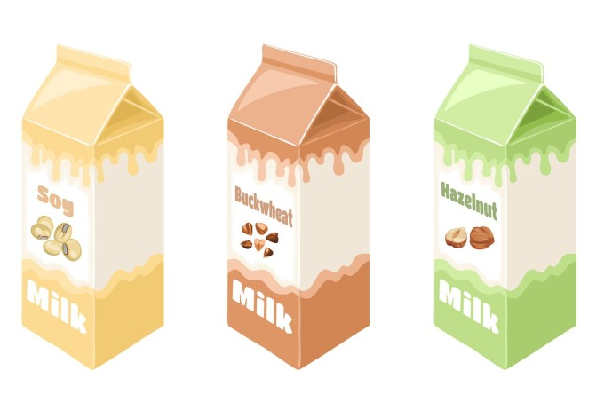 Vegan milk in carton box isolated on white background set. Vector illustration of plant-based drink in cartoon flat style. Organic Dairy Free cashew, hazelnut, soy and buckwheat milk.