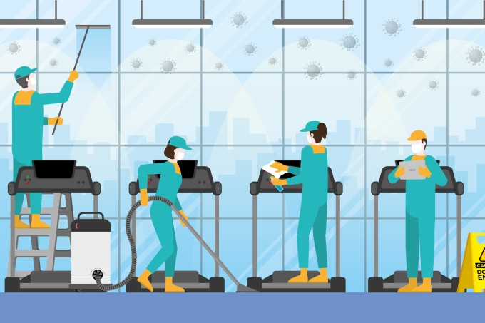 Cleaning crew team in fitness center. Clean and check inspector professional service for protect the pandemic of COVID-19 coronavirus and the dirty. Re-opening business after quarantine.