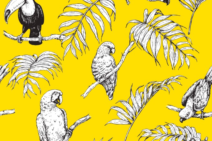 Seamless Pattern with Tropical Birds.
