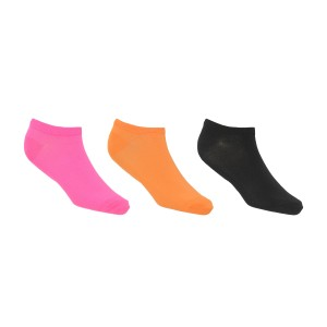 kit de 3 meias femininas esportivas ace cano baixo nas cores rosa, laranja e preto