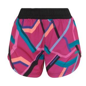 short feminino esportivo ace running estampado geométrico pink