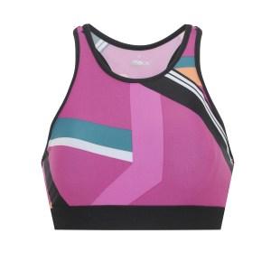 top feminino esportivo ace estampado geométrico com bojo removível decote nadador pink