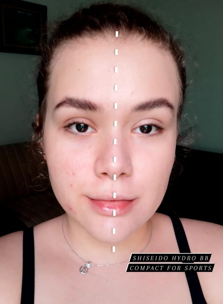 teste de cobertura protetor solar, metade do rosto com o produto e metade sem