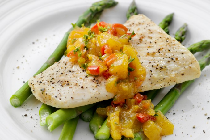 Butter Poached Halibut with Mango Chutney and Asparagus