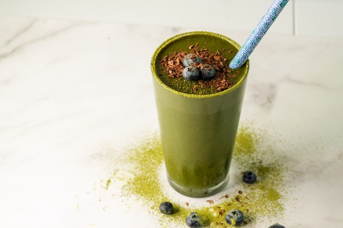 Green Smoothie in Kitchen Setting